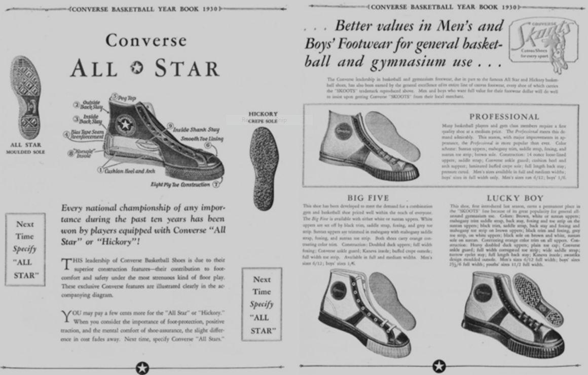 """Реклама спортивной обувь с высоким берцем со шнуровкой до носка, модель """"дерби"""" (для скачек), производитель: компания «Converse Rubber Company», 1930 г."""