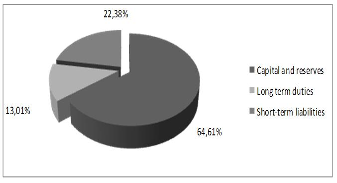 Figure 3 - The structure of the liabilities of the enterprise as of 31.12.2014 (%)