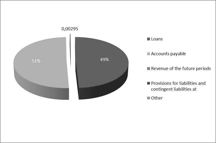 Figure 5 - Structure of short-term debt capital at 31.12.2014 (%)